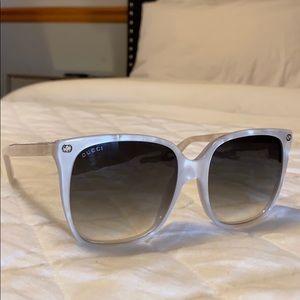 Gucci White Marbleized Oversized sunglasses